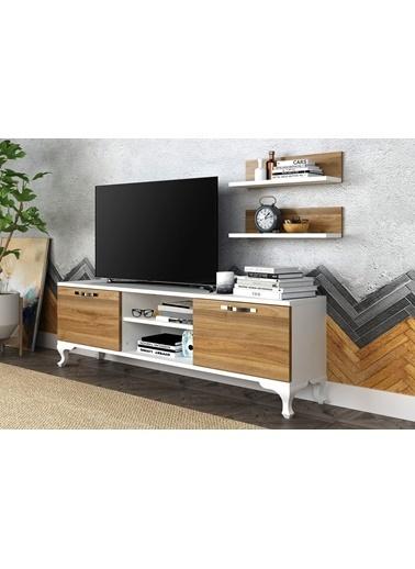 Sanal Mobilya Ezo Raflı Kapaklı Tv Ünitesıceviz-Beyaz Beyaz